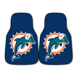 Fanmats - Fanmats Miami Dolphins 2-piece Carpeted Nylon Car Mats - A great gift for your favorite football fan, this set includes two easy-care nylon carpeted Fanmats Miami Dolphins auto floor mats. These car mats feature a universal fit, and are suitable for cars, trucks, SUVs, and RVs of all kinds.