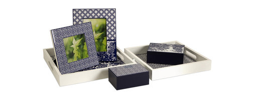 iMax - Missy Desk Accessories, Set of 6 - Very sleek and contemporary, this desk set contains two picture frames, two lidded boxes and two trays.