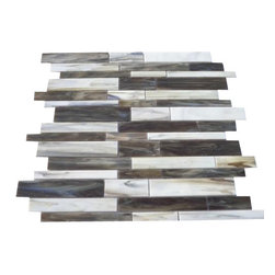 "Matchstix Rainstorm Glass Tile - Matchstix Rainstorm Glass Tile This stunning mosaic is handcrafted in stained glass. With the mixture of brown, gray and white with a hint of beige this glass tile will give a luminescent quality to any bathroom, kitchen or pool installation. Add a pop to any room with these beautiful tiles that are versatile. Chip Size: Random Color: Brown, Gray, and White with Hint of Beige Material: Glass Finish: Stained Sold by the Sheet- each sheet measures 10 1/2"" x 10 3/4"" (0.78 sq. ft.) Thickness: 1/8"" Please note each lot will vary from the next."