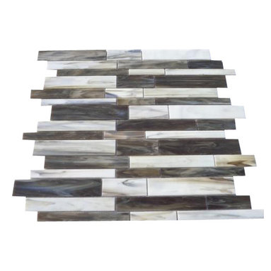 """Matchstix Rainstorm Glass Tile - Matchstix Rainstorm Glass Tile This stunning mosaic is handcrafted in stained glass. With the mixture of brown, gray and white with a hint of beige this glass tile will give a luminescent quality to any bathroom, kitchen or pool installation. Add a pop to any room with these beautiful tiles that are versatile. Chip Size: Random Color: Brown, Gray, and White with Hint of Beige Material: Glass Finish: Stained Sold by the Sheet- each sheet measures 10 1/2"""" x 10 3/4"""" (0.78 sq. ft.) Thickness: 1/8"""" Please note each lot will vary from the next."""