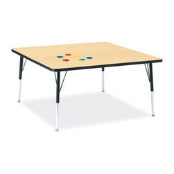 Jonti-Craft RidgeLine KYDZ Square Activity Table - The Childrens Activity Square Table is perfect for arts and craft projects puzzles or coloring. Laminate table top available in your color choice of grey red or oak. Thermo-fused edgebanding around the table top leaves no hiding places for germs and is stronger than t-molding. Nylon-based swivel guides prevent rusting carpet tears and floor scuffing. Includes extra-safe dual-screw leg adjustability system and nylon-based swivel glides. Legs can adjust in 1-inch increments in height from 15- to 24- inches and 24- to 31-inches. Legs mount quickly for minimal assembly. A table height of 15- to 24-inches is ideal for use with 8- to 14-inch seat heights and perfect for ages 2 thru 1st grade. A table height of 24- to 31-inches is ideal for use with 14- to 18-inch seat heights and perfect for 1st graders thru adults. About Jonti-CraftFamily-owned and -operated out of Wabasso Minn. Jonti-Craft is a leading provider of quality furniture for the early learning market. It offers a wide selection of creatively designed products in both wood and laminate materials. Its products are packed with features that make them safe functional and affordable. Jonti-Craft products are built using the strongest construction techniques available to ensure that your furniture purchase will last a lifetime.