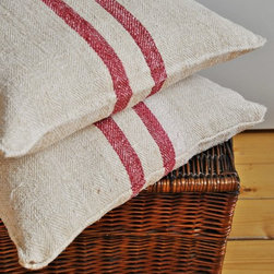 Vintage Authentic Grain Sack Pillow Cover/Antique hemp linen/Red Stripes/Pillow - Made from a beautiful antique/vintage hand-woven hemp grain sack from Europe, the textile dates from the early 1900's.