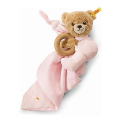 Steiff - Steiff Baby Sleep Well Teddy Bear Pink 3 in 1 - Steiff Baby Sleep Well Bear Pink 3 in 1 is made of plush for baby soft skin. This Toy includes a teddy bear, wooden ring, and small blanket/lovey.Machine washable without the wooden ring. Handmade by Steiff of Germany.