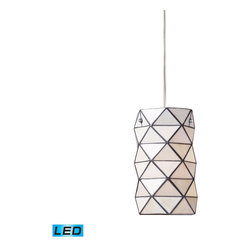 Landmark Lighting - Landmark Lighting Tetra 72021-1-LED 1-Light Pendant w/ Chrome Hardware - LED Off - 72021-1-LED 1-Light Pendant w/ Chrome Hardware - LED Offering Up To 800 Lumens belongs to Tetra Collection by Landmark Lighting The Tetra Collection Represents A Modern Approach To Tiffany. Using Triangular Cut Pieces Of Tiffany Glass, Each Fixture Is AssembLED Using Triangles, To Create Visually Pleasing Geometric Shapes. - LED Offering Up To 800 Lumens (60 Watt Equivalent) With Full Range Dimming. Includes An Easily Replaceable LED Bulb (120V). Pendant (1)