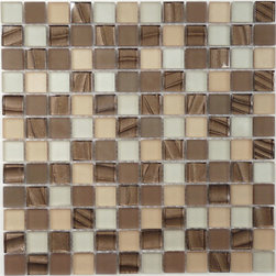 """Euro Glass - Opulence Brown Tepee 7/8"""" x 7/8"""" Brown Kitchen Glossy and Frosted Glass - Ancient Greece is the source of inspiration for new mosaics with exquisite combinations of fine marble and exotic coloured glass. An authentic melting pot of styles and materials."""