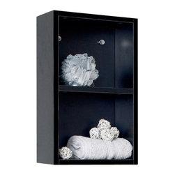 Fresca - Fresca FST8092BW Black Bathroom Linen Side Cabinet With 2 Open Storage Areas - Fresca FST8092BW Black Bathroom Linen Side Cabinet With 2 Open Storage Areas