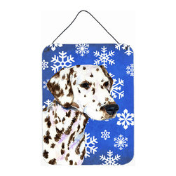 Caroline's Treasures - Dalmatian Winter Snowflakes Holiday Aluminium Metal Wall Or Door Hanging Prints - Great for inside or outside these Aluminum prints will add a special touch to your kitchen, bath, front door, outdoor patio or any special place.  12 inches by 16 inches and full of color.  This item will take direct sun for a while before it starts to fade.  Rust and Fade resistant.  Aluminum Print with Hanging Rope.  Rounded Corners.