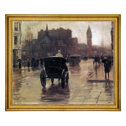 """Frederick Childe Hassam-16""""x20"""" Framed Canvas - 16"""" x 20"""" Frederick Childe Hassam Columbus Avenue, Rainy Day framed premium canvas print reproduced to meet museum quality standards. Our museum quality canvas prints are produced using high-precision print technology for a more accurate reproduction printed on high quality canvas with fade-resistant, archival inks. Our progressive business model allows us to offer works of art to you at the best wholesale pricing, significantly less than art gallery prices, affordable to all. This artwork is hand stretched onto wooden stretcher bars, then mounted into our 3"""" wide gold finish frame with black panel by one of our expert framers. Our framed canvas print comes with hardware, ready to hang on your wall.  We present a comprehensive collection of exceptional canvas art reproductions by Frederick Childe Hassam."""