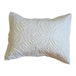 BrandWave - Chenille Sham, Cream - Chenille was considered the height of luxury in the 1920's and 1930's. What's old is new again as we have taken a traditional technique and applied it to our unique design.