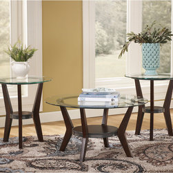Signature by Ashley - Fantell 3 Piece Occasional Table Set - Contemporary Design. Glass Table Top. Open Storage. Gun Metal Accent Band wraps around shelf. Solid Wood Legs. Dark Brown Finish. 2 End Tables: 22 in. W x 22 in. D x 24 in. H. Shelf: 7.375 in.  Round. Bottom Shelf to Glass Top: 11.5 in. H. Cocktail Table: 34 in. W x 34 in. D x 18.625 in. H. Shelf: 14.625 in.  Round. Bottom Shelf to Glass Top: 9.5 in. H.