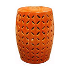 Belle & June - Orange Coin Carving Garden Stool - Drum up some excitement in your garden. This prettily patterned stool, which also functions as a plant stand, brings a handmade touch to your favorite outdoor space.