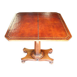 "Consigned Folding Game Table - Folding Victorian game table. Table folds open to reveal gold embossed brown leather playing surface and storage underneath. Opens to 30"" x 30"""