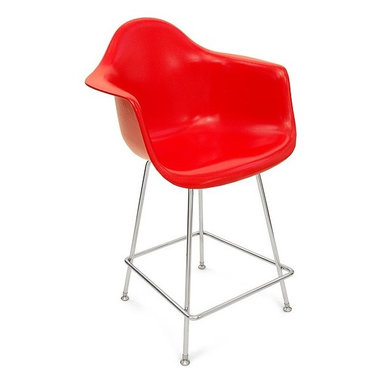 """Modernica H Base 25"""" Counter Stool Arm Shell Chair - The Case Study Fiberglass 25"""" Counter Stool is a simple and clean look. Pick your favorite shell for a visually solid chair that will look great in any kitchen."""