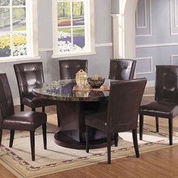Danville Black Round Marble Top Dining Table - 07003 - Danville Collection Dining Table