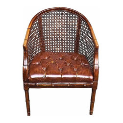 Leather Cane Chair - Vintage barrel chair with caned sides and tufted leather seat.
