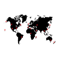World Map with Pin Drops Wall Decal - Some wall decals may come in multiple pieces due to the size of the design.