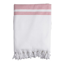 Nine Space - Nine Space Ayrika Red Soft Terry Fouta Towel - Nine Space Ayrika Red Soft Terry Fouta TowelTalk about versatility! The Ayrika Red Soft Terry Fouta Towel from Nine Space can be used as a pool towel, a bath towel, or even a throw. It's made from thick, absorbent terry cotton with bands of handwoven Turkish cotton in soft red. Let the color scheme give your bathroom a charming touch, or pair it with blues and whites for nautical style in your home. Now that's how to do form and function right.Made in Turkey
