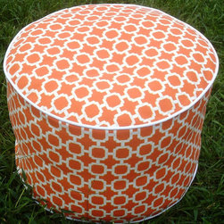 Pouf Ottoman Floor Pillow Chain Links in Bright Orange by Anita Scasa - Swoon. If a bright orange pouf doesn't make you smile, I don't know what will. What a great ottoman for a neutral-based room or for extra seating in a family room or guest room.