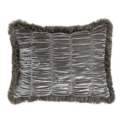 Dian Austin Couture Home - King Shirred Velvet Sham w/ Brush Fringe - FROSTED SILVER - Dian Austin Couture HomeKing Shirred Velvet Sham w/ Brush FringeDesigner About Dian Austin Couture Home:Taking inspiration from fashion's most famous houses of haute couture the Dian Austin Couture Home collection features luxurious bed linens and window treatments with a high level of attention to detail. Acclaimed home designer Dian Austin introduced the collection in 2006 and seeks out extraordinary textiles from around the world crafting each piece with local California artisans.