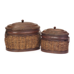 iMax - iMax Rattan/Metal Lidded Boxes X-2-8101 - Set of two, oval, nesting, metal and rattan lidded boxes