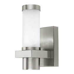 Eglo Lighting - Konya 86385A - Outdoor Wall Sconce | Eglo - Eglo Lighting Konya�_86385A�_Outdoor�_Wall Sconce features a�_matte nickel finish with opal frosted shade and stainless steel material. Manufacturer:�_Eglo LightingSize:�_4.4 in. length x 8.6 in. height x 4.6 in. depth Light Source:�_1 x 40 watt G9 - not included Certifications: ETL Location:�_Wet