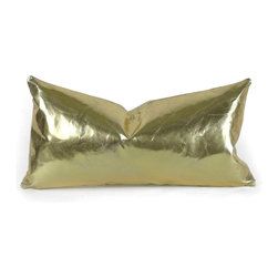 "Pfeifer Studio - Gold Leather Pillow, 9"" x 18"" - Go for the gold with this shiny lumbar pillow. It's the perfect pop of metallic that will liven up any seating arrangement. Pair it with a few bohemian patterns for contrast and delight and just a hint of disco."