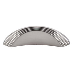 """Top Knobs - Sydney Flair Knob 2"""" (c-c) - Brushed Satin Nickel - Length - 3 1/4"""", Width - 13/16"""", Projection - 1"""", Center to Center - 2"""", Base Diameter - W 13/16"""" x L 3 1/4"""""""