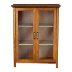 Elegant Home Fashions - 245 Elegant Home Fashions Lexington Floor Cabinet with 2 Doors - Lexington Double Door Floor Cabinet in Oil Oak finish offers storage with style for the bathroom. Its elegant crown top molding and adjustable shelf  helps make it easy to store items of different sizes. The tempered glass-paneled doors provides a clear view into the cabinet.  The cabinet features metal knobs for easy opening. This sturdy cabinet comes with assembly hardware.