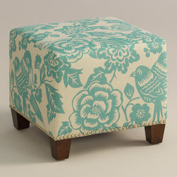 "World Market - Robin Canary McKenzie Ottoman - Cozy up with our custom-made Robin Canary McKenzie Ottoman, handcrafted in the U.S.A. with cotton blend upholstery and nail head trim. Showcasing a stylized canary and floral motif in robin's egg blue, this plush ottoman makes a bold statement. Pair two ottomans for a dramatic ""bench"" at the foot of the bed. Shop our coordinating bed or headboard in the same custom fabric for a pulled together look."