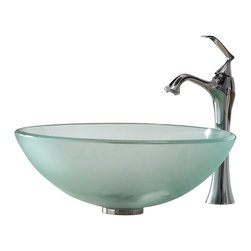 Kraus - Kraus Frosted Glass Vessel Sink and Ventus Faucet - Add a touch of elegance to your bathroom with a glass sink combo from Kraus.