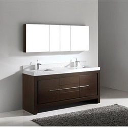 "Madeli - Madeli Vicenza 72"" Double Bathroom Vanity with Quartzstone Top - Walnut - Madeli brings together a team with 25 years of combined experience, the newest production technologies, and reliable availability of it's products. Featuring sleek sophisticated lines Madeli vanities are also created with contemporary finishes and materials. Some vanities also feature Blum soft-close hardware. Madeli also includes a Limited 1 Year Warranty on Glass Vessels, Basin, and Counter Tops. Features Base vanity with two soft-close drawers and two soft-close doorsTwo interior pull-out trays Walnut finish Polished Chrome handle and leg finish 3""H Quartzstone Countertops come in White or Soft Grey finish Quartzstone Countertops come with single faucet or 8"" widespread faucet holes Ceramic undermount sinks with overflow Faucets and drains are not included Backsplash included Matching mirrors and medicine cabinet set available Limited 1 Year Warranty on Glass Vessels, Basin, and Counter Tops How to handle your counter Spec Sheet Installation Instructions"
