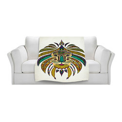 DiaNoche Designs - Throw Blanket Fleece - Emporer Tribal Lion I - Original Artwork printed to an ultra soft fleece Blanket for a unique look and feel of your living room couch or bedroom space.  DiaNoche Designs uses images from artists all over the world to create Illuminated art, Canvas Art, Sheets, Pillows, Duvets, Blankets and many other items that you can print to.  Every purchase supports an artist!