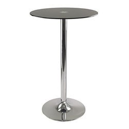 Winsome Wood - Rossi Pub Table with Round Black Glass Top - Our Rossi Round Tempered Glass Pub Table is perfect addition for your kitchen or game room. This table comes in chrome finish leg and base.