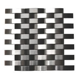"Eden Mosaic Tile - Bridge Pattern Silver And Black Stainless Steel Mosaic Tile, Sheet - This modern mosaic tile features 3.6""x0.9"" 'bridge' style/model 3D bricks. This is a groutless tile, which means no grout is required to finish the installation. The mix of black and silver tile lend themselves to a unique contemporary style/model that is ideal for kitchen or bathroom backsplashes. Samples are approximately 1/6-1/4 of a regular sized sheet."