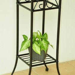 International Caravan - International Caravan Iron & Wood Plantstand - This iron and wood plant stand is a great addition to your home decor that is both beautiful and functional. This stand is made with a strong black iron frame and a wooden top,which is highlighted with curved legs and a graceful design.