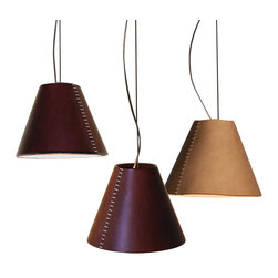 Logicsun/Riviera - Umbra - A simple design with a stately effect. The hand-sewn shade of this handsome pendant light is made from genuine Italian leather. It will add a rich, informal elegance to any room in your home.