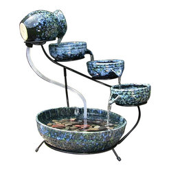 Decorative Blue Cascade Solar Fountain
