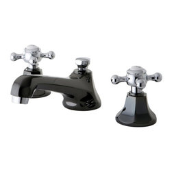 Kingston Brass - widespread faucet brass pop-up drain black nickel finish chrome trim NS4467BX - Add a touch of beauty to your bathroom with the unique look of this split finish faucet, Its primary Water Onyx's black nickel finish highlighted with polished chrome accents- this faucet was originally inspired by an early 20th Century design and. The multi-faceted design of this faucet gives it a very masculine look that stands apart amongst other conventional faucets.. Manufacturer: Kingston Brass. Model: NS4467BX. UPC: 663370252396. Product Name: NS4467BX Water Onyx widespread lavatory faucet with brass pop-up drain, black nickel finish with chrome trim. Collection / Series: Water Onyx. Finish: Black Nickel/Polished Chrome. Theme: Modern/Contemporary. Material: Brass. Type: Bathroom. Features: High quality brass construction for durability and reliability