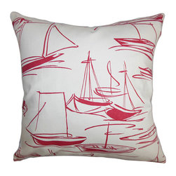 The Pillow Collection - Gamboola Red and White 18 x 18 Nautical Throw Pillow - - Pillows have hidden zippers for easy removal and cleaning  - Reversible pillow with same fabric on both sides  - Comes standard with a 5/95 feather blend pillow insert  - All four sides have a clean knife-edge finish  - Pillow insert is 19 x 19 to ensure a tight and generous fit  - Cover and insert made in the USA  - Spot clean and Dry cleaning recommended  - Fill Material: 5/95 down feather blend The Pillow Collection - P18-D-21012-RED-C100