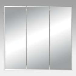 Broan-Nutone Horizon Triple Door 48W x 28.25H in. Surface Mount Medicine Cabinet - The Broan-Nutone Horizon Triple Door Surface Mount Medicine Cabinet - 48W x 28.25H in. offers ample storage behind its beveled mirror doors. The three doors have a classic beveled edge and open to reveal two steel adjustable shelves. Doors are attached with concealed hinges, making the exterior appear smoother.About Broan-NuToneBroan-NuTone has been leading the industry since 1932 in producing innovative ventilation products and built-in convenience products, all backed by superior customer service. Today, they're headquartered in Hartford, Wisconsin, employing more than 3200 people in eight countries. They've become North America's largest producer of medicine cabinets, ironing centers, door chimes, and they're the industry leader for range hoods, bath and ventilation fans, and heater/fan/light combination units. They are proud that more than 80 percent of their products sold in the United States are designed and manufactured in the U.S., with U.S. and imported parts. Broan-NuTone is dedicated to providing revolutionary products to improve the indoor environment of your home, in ways that also help preserve the outdoor environment.
