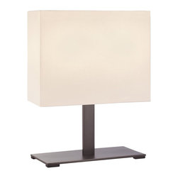 Sonneman Lighting - Sonneman Lighting Mitra Contemporary Table Lamp X-F15.0207 - Available in two different finishes, this Sonneman Lighting contemporary table lamp from the Mitra Collection is an excellent representation of clean, modern styling. The sleek lines and angles of the body are mimicked in the rectangular off-white linen shade, creating a cohesive look.