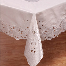 None - White 70x90-inch Oblong Tablecloth - This elegant,durable 100-percent polyester tablecloth is the perfect table linen for weddings,special events,corporate affairs and other occasions. Lend sophistication to your table with this white oblong tablecloth.