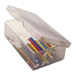 Design Ideas - Mesh Hinged Pencil Box - Silver - Your desk will become an organization station with our silver mesh Pencil Box.