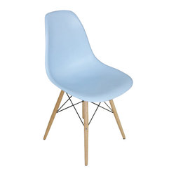 "2 Wood Eiffel Side Chairs, Blue - One of our most popular accent chairs now comes in wood base too! Its Eiffel shape is reminiscent of the original. The eiffel base chair has an ""Eiffel Tower"" style wood base and plastic shell seat. The retro simplicity of these classic accent chairs will instantly enhance the modernity of your room. Each of these contemporary accent chairs is made from durable molded plastic with an ergonomically-shaped and curved seat. The legs are wooden and include steel hardware in black as well as plastic tips to protect sensitive flooring."