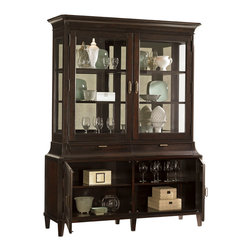 Lexington - Lexington Kengsington Place Grove Park Display China 708-864C - The Grove Park Display Cabinet features two wood-framed beveled glass doors that open to reveal two adjustable wood framed glass shelves, which are grooved for plates. Design details like touch activated lighting, glass end panels and a stunning antique mirror back panel adds sophisticated style. Cord management and ventilation allow this piece to be functional as well. Two wood doors open to reveal two felt lined drawers, one of which is divided for silver, and two adjustable shelves.