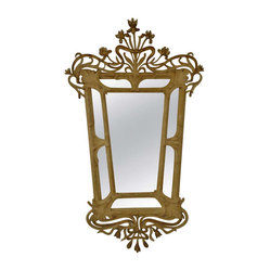 Cream and Gold Art Nouveau Vintage Mirror - Carved wood and gesso, cream and gilding, etched mirror