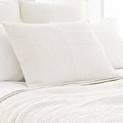 Pine Cone Hill - PCH Seychelles Dove White Quilted Pillow Sham - The Seychelles quilted sham makes a rich accompaniment to a range of modern styles. Dove white tone-on-tone topstitching offers this cozy PCH accessory subtle texture. Available in standard and euro; 100% cotton; Designed by Pine Cone Hill, an Annie Selke company; Machine wash