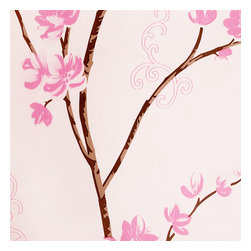 Blancho Bedding - Pink Magnolia - Self-Adhesive Wallpaper Home Decor Roll - Wallpaper can transform a room quickly and easily. You can wallpaper all walls, the ceiling or create a large over scaled piece of artwork by framing it. It would be perfect for nearly any room in the house: your living room, bedroom, bathroom, etc. The wallpaper are made of a high quality, waterproof, and durable vinyl and will stick to any smooth surface. It can be washed with gentle pressure and a soft damp cloth Strippable. You can add your own unique style in minutes! This wallpaper is a perfect gift for friend or family who enjoy decorating their homes.