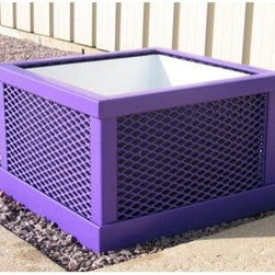Premier Polysteel Expanded Metal Planter - Featuring an all-steel body and simple grid-paneled square design the Premier Polysteel Expanded Metal Planter makes an appealing addition to any environment. This planter has clean lines slightly rounded edges and mesh-pattern panels that blend well with surroundings while providing you with a functional piece. It is available in a variety of popular colors to complement your landscape.This planter is completely plastisol-coated to protect against the elements. A thick 1/8-inch coating of UV-treated and mildew-resistant plastisol is added to create a finished product that is unequaled in strength and durability. To ensure a strong bond all steel is cleaned and primed before coating with plastisol. Only high-quality stainless steel hardware is used.About A.D.A. Enterprises/Premier PolysteelWhat began as a steel manufacturer is now an enterprise that creates 100% plastic-coated steel outdoor furniture. A.D.A. Enterprises which owns Premier Polysteel offers a wide line of benches picnic tables trash receptacles bike racks umbrellas and grills. Located in Northwood Iowa A.D.A. takes pride in the high quality of their products. These products are sturdily built and completely coated in UV-stabilized plastisol. Durable excellently crafted outdoor furniture is what A.D.A. is all about.