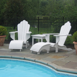 Adirondack chairs - Matching white adirondacks with foorstool and sidetable.  Built from poplar and painted with exterior high gloss acrylic paint.  Will ship anywhere.  Simple assembly required.